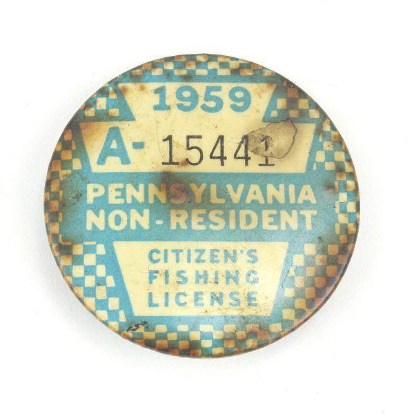 1959 Pennsylvania Resident Fishing License Vintage