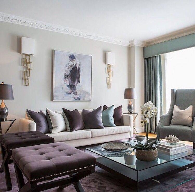 Love The Color Schema Violet Aqua Beige Purple Living Room Elegant Living Room Living Room Color Schemes