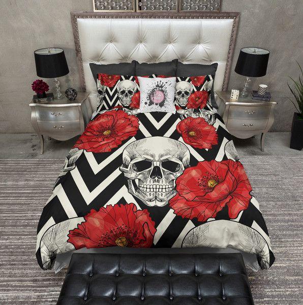 Red Poppy Chevron Stripe Skull Bedding CREAM
