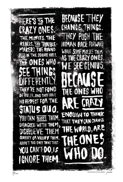Top 10 heres to the crazy ones think different typography posters www posterama co