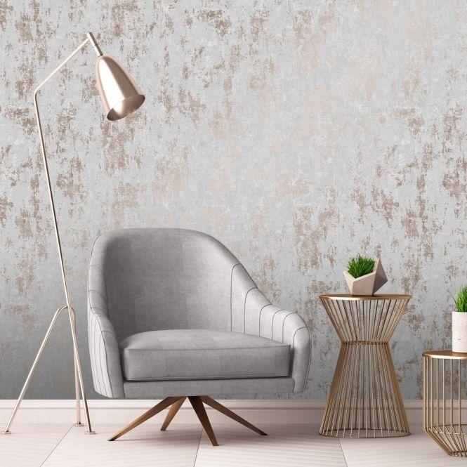 Milan Metallic Wallpaper Grey Rose Gold Grey Wallpaper Living Room Wallpaper Bedroom Feature Wall Feature Wall Living Room