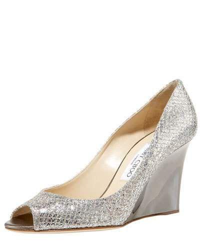 silver peep toe wedge