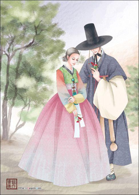 hanbok illustration hanbok art pinterest