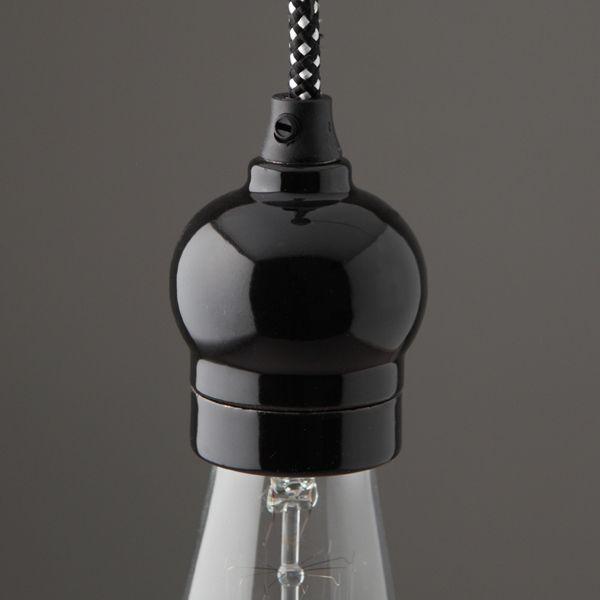 Douille-e27-porcelaine-indie-noire | Pinterest | Douille e27 ...