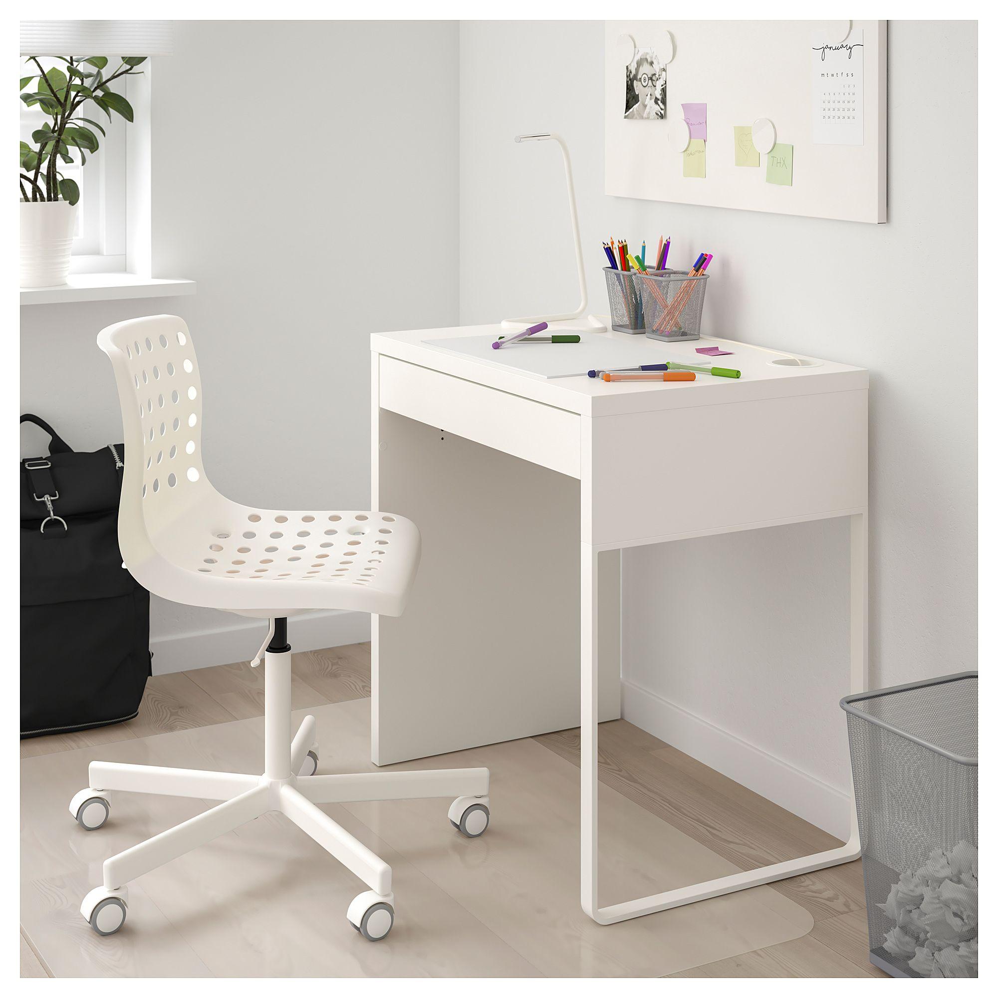 """MICKE Desk white 28 3/4x19 5/8 """" (73x50 cm) Small"""