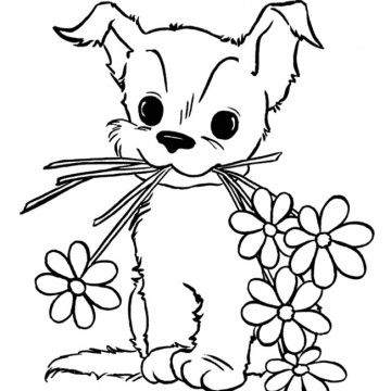 cute puppy with flower coloring page for kids animal coloring pages printables free - Puppy Coloring Pages