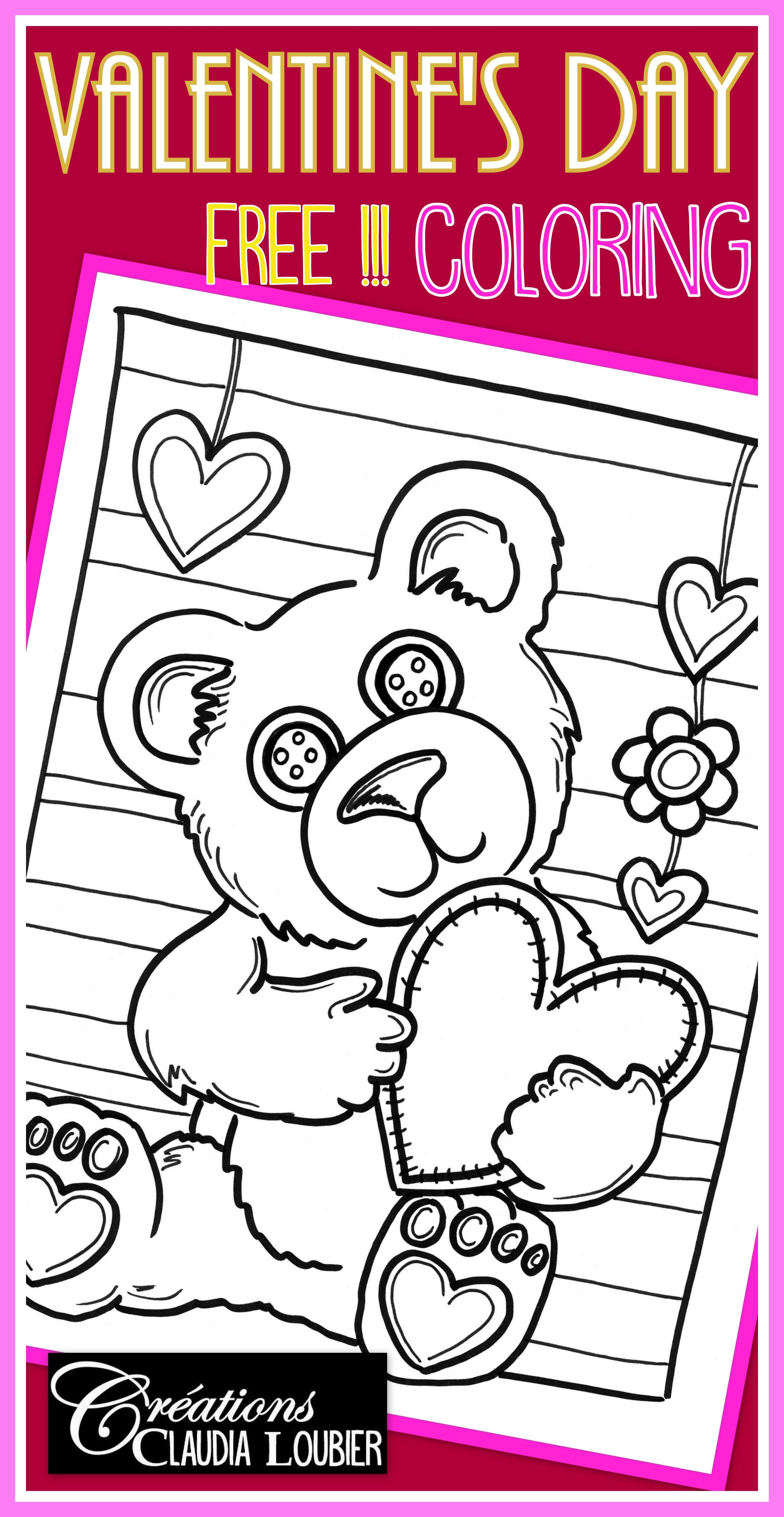 Free Valentine S Day Coloring Teddy Bear