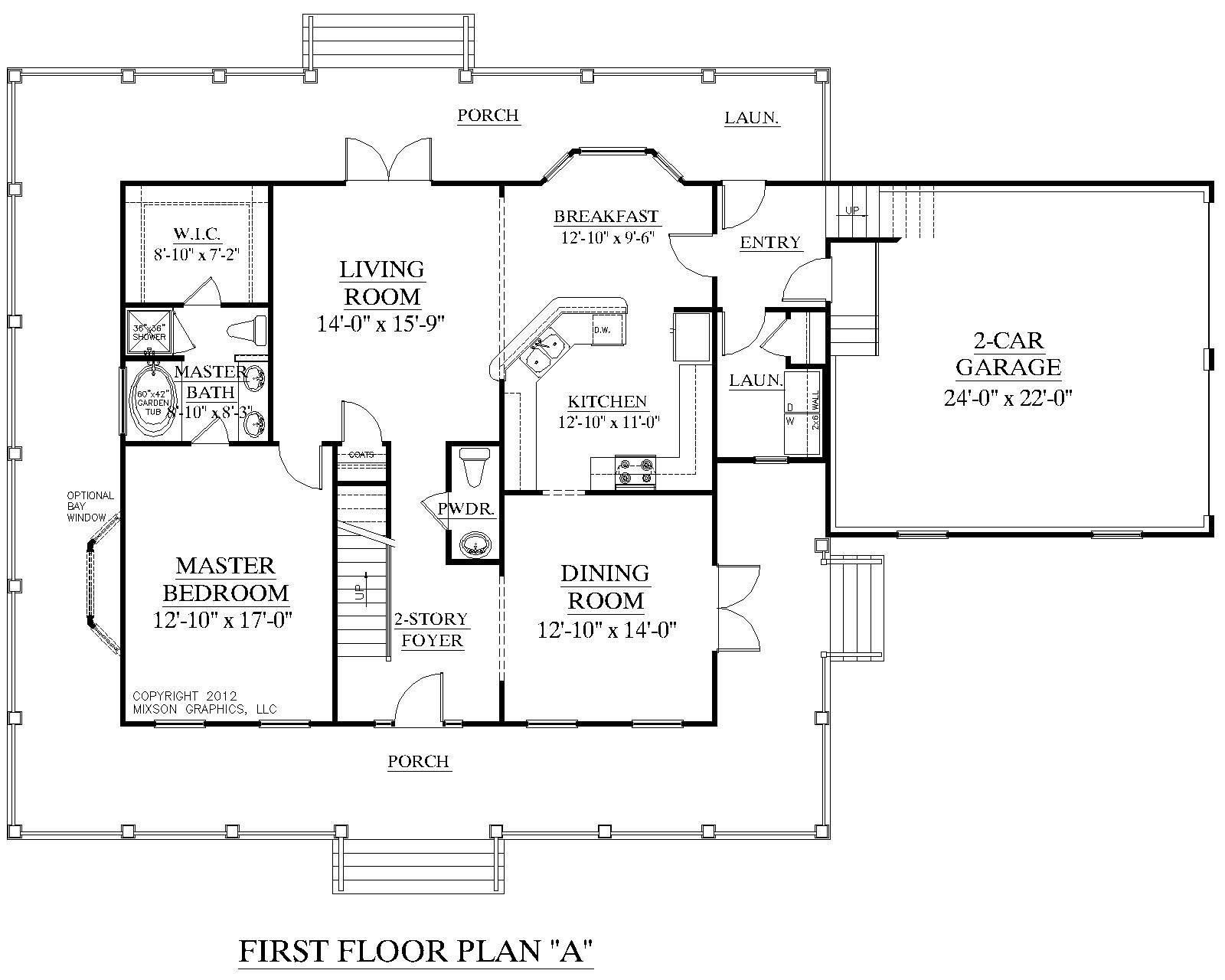 House plan 2341 a montgomery a first floor plan for Two story house plans with master bedroom on first floor