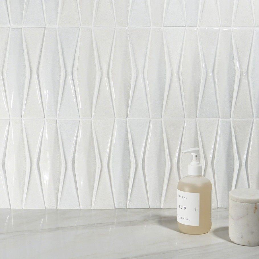 Nabi Harlequin Glacier White 3d Ceramic Tile White Ceramic Tiles Ceramic Mosaic Tile Ceramic Tiles