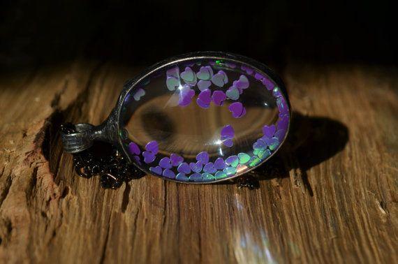 shiny hearts necklace glass necklace purple by ZokaKurylov on Etsy