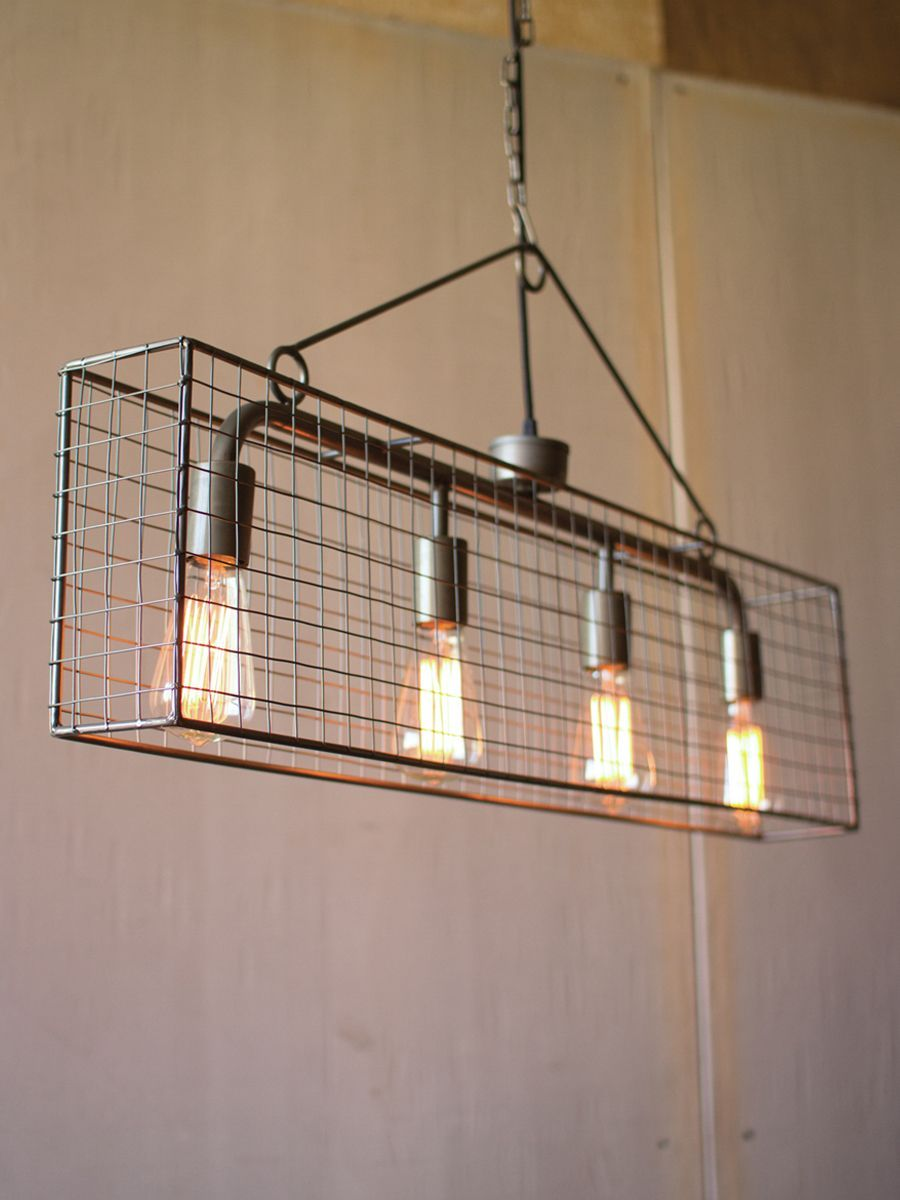 This simple cage pendant the four bulb wire mesh horizontal pendant