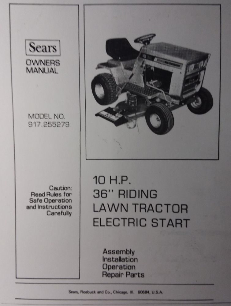 Sears Craftsman Lt 10 36 Riding Lawn Garden Tractor Owner Parts Manual 44pg Sears Craftsman Garden Tractor Lawn And Garden