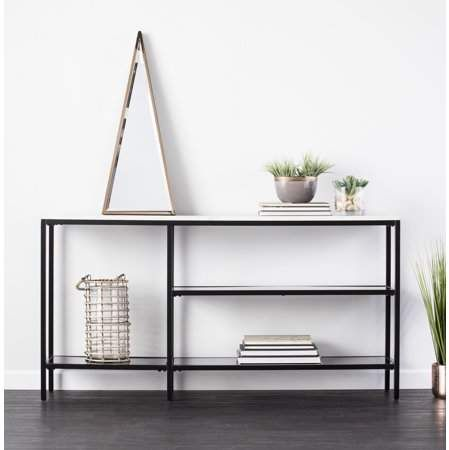 Photo of Holly & Martin Corman Faux Marble Narrow Console Table, Contemporary Style, Black w/ Gray Faux Marble – Walmart.com