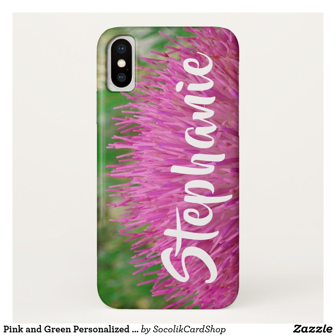 Pink and green personalized iphone xs xs max xr iphone