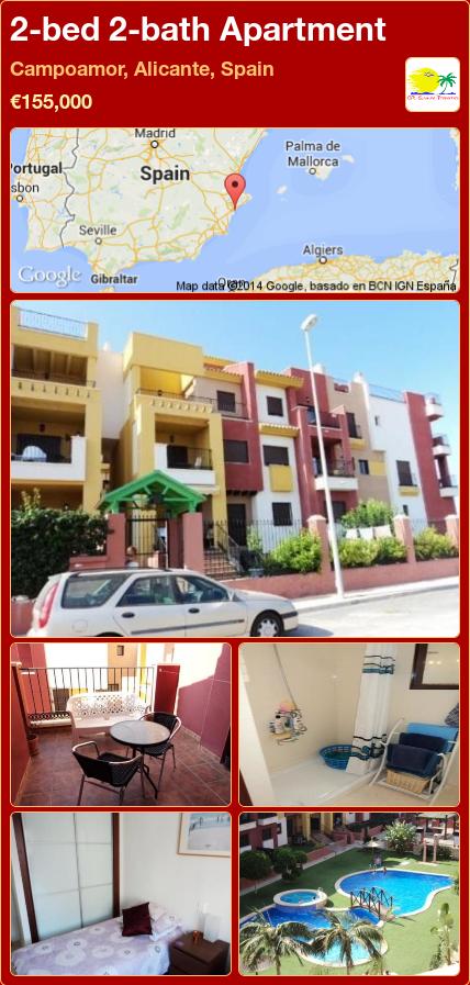 2-bed 2-bath Apartment for Sale in Campoamor, Alicante, Spain ►€155,000