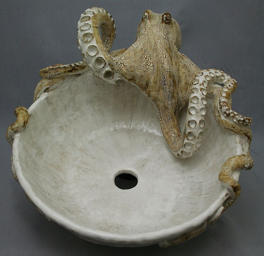 Beau Large Hand Made Ceramic Octopus Vessel Sink By Shayne Greco Beautiful  Mediterranean Pottery