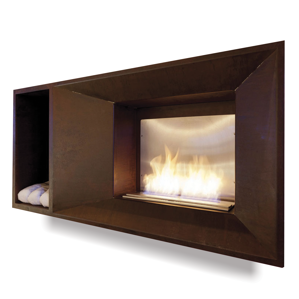 this recessed corten fireplace features essential lines and a
