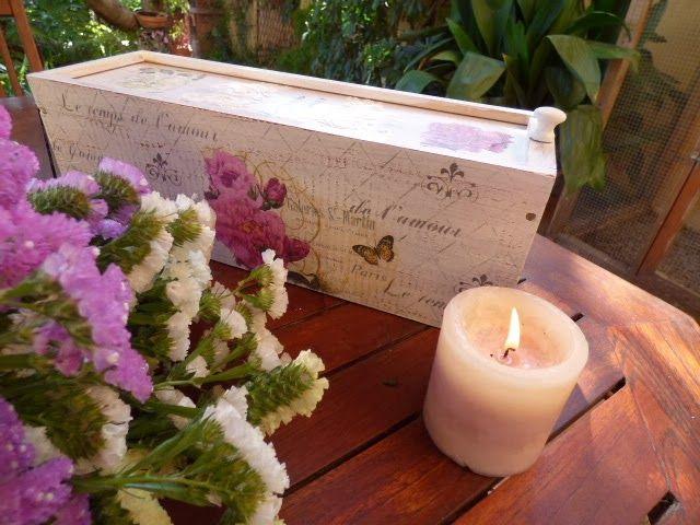 Caja de vino reciclada con decoupage y stencils trabajos manualidades y bricolaje pinterest - Manualidades y bricolaje ...