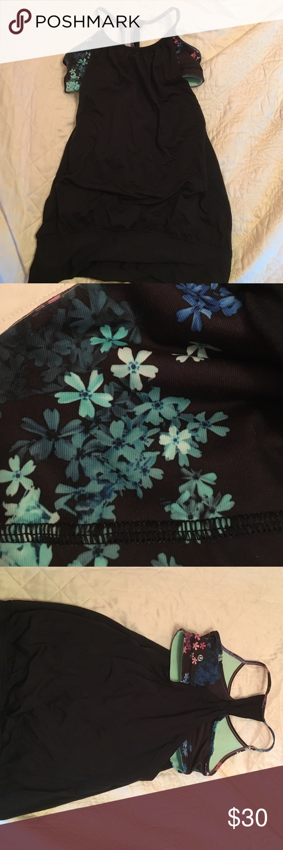 Black Lululemon tank with built in bra Black Lululemon tank with floral bra size 4 work only a few times I just grew out of it!! In great condition lululemon athletica Tops Tank Tops