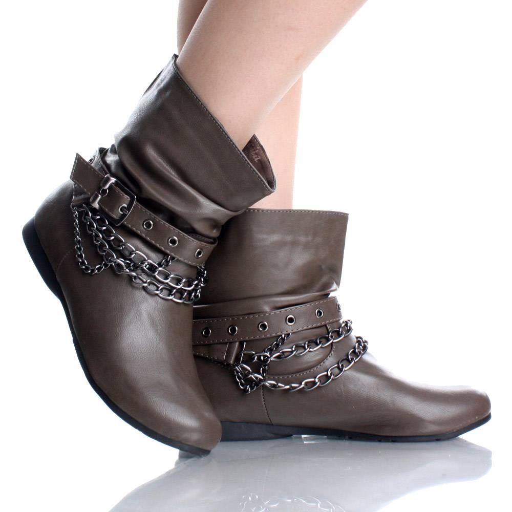 16 Brown Flat Ankle Boots Steam Punk Rock Cowboy Fashion Womens ...