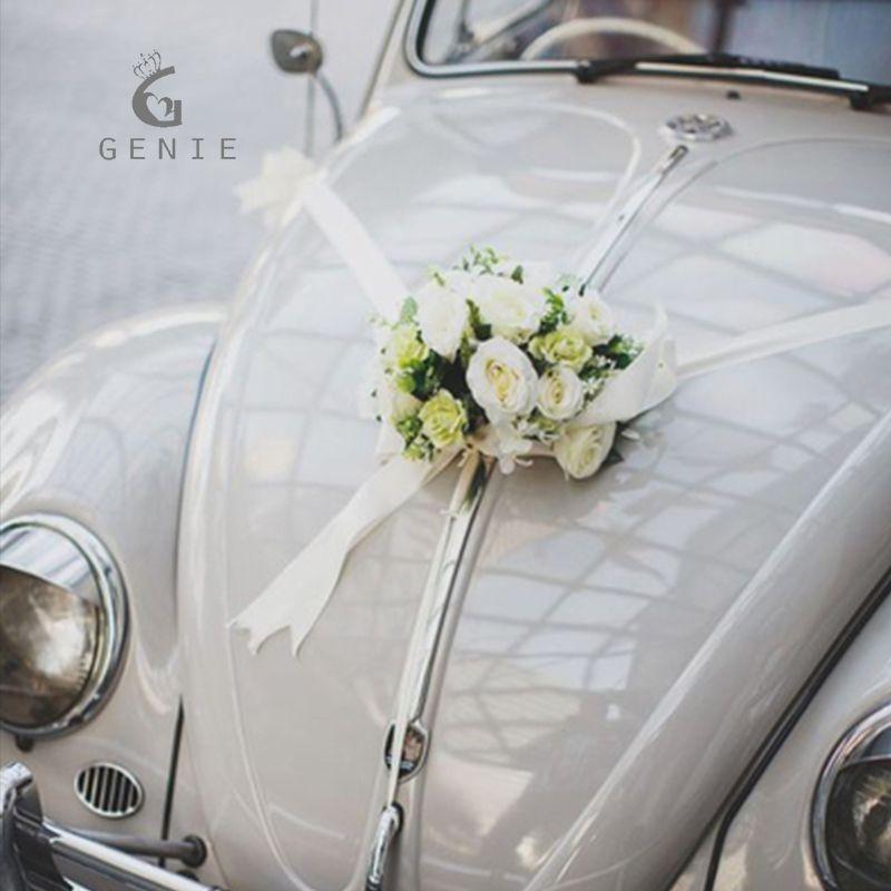 Genie New Arrival Wedding Car Decoration Set Silk Rose Flowers Diy