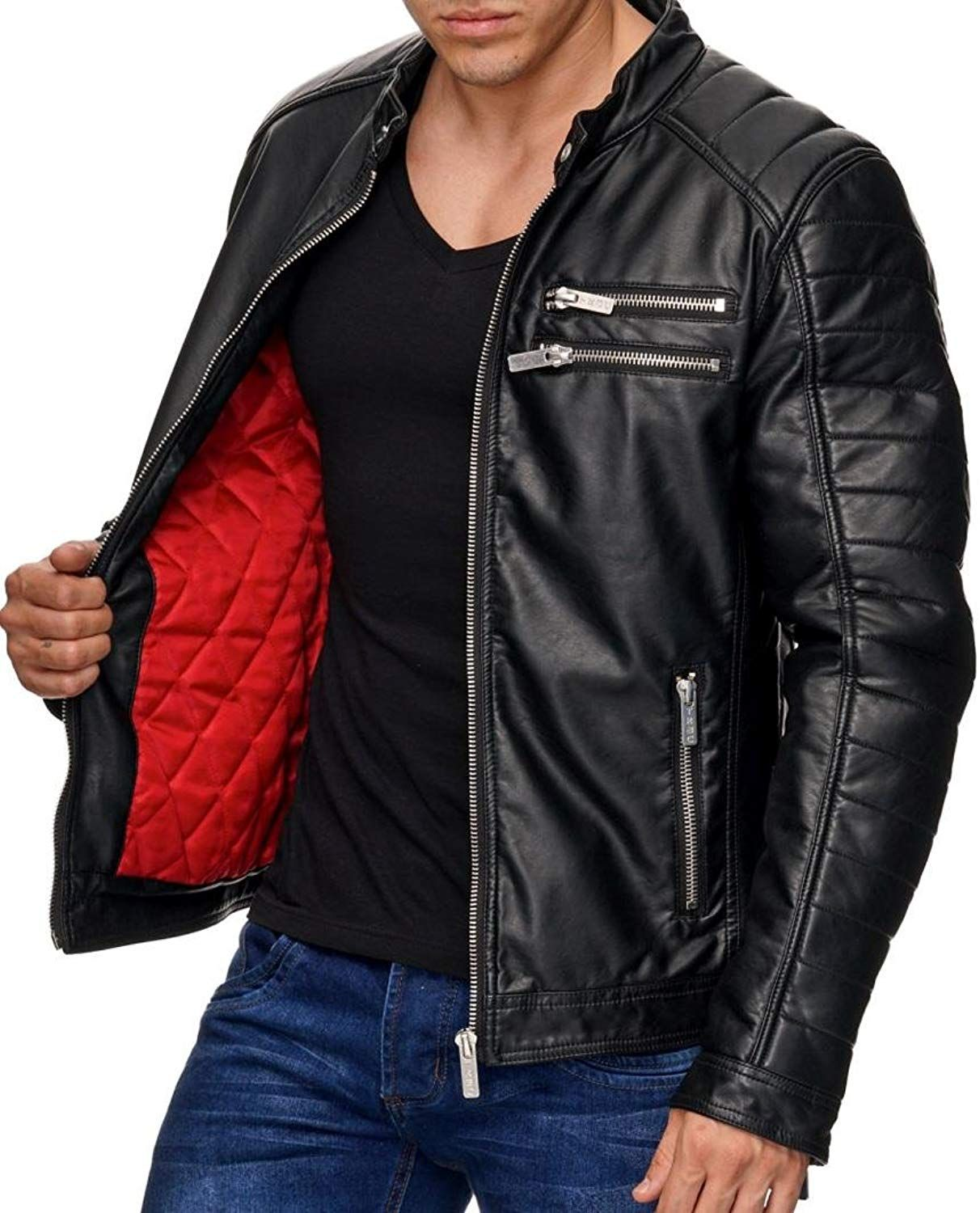 Red Bridge Herren Kunstleder Jacke Biker Look Lederjacke