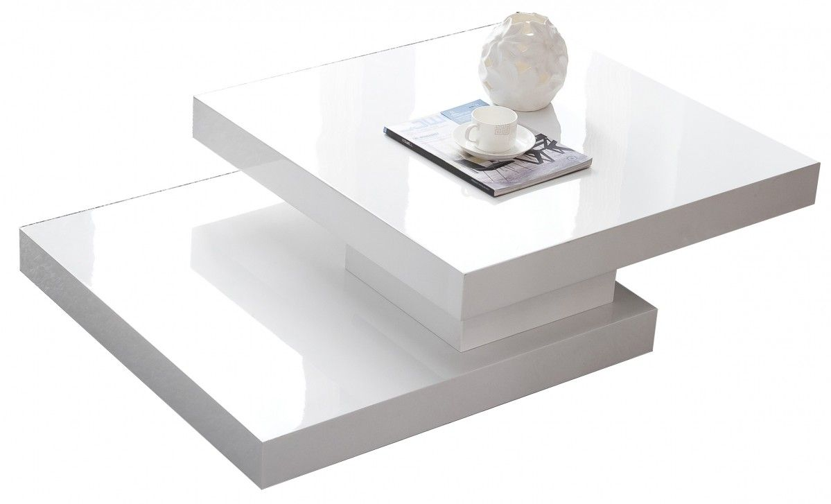 Table basse carr e plateau pivotant design blanc laqu for Table basse blanc laque
