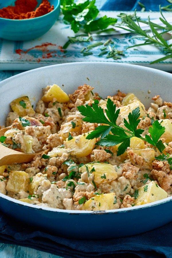 Blitzschnelle Kartoffel-Hackfleisch-Pfanne mit Frischkäse