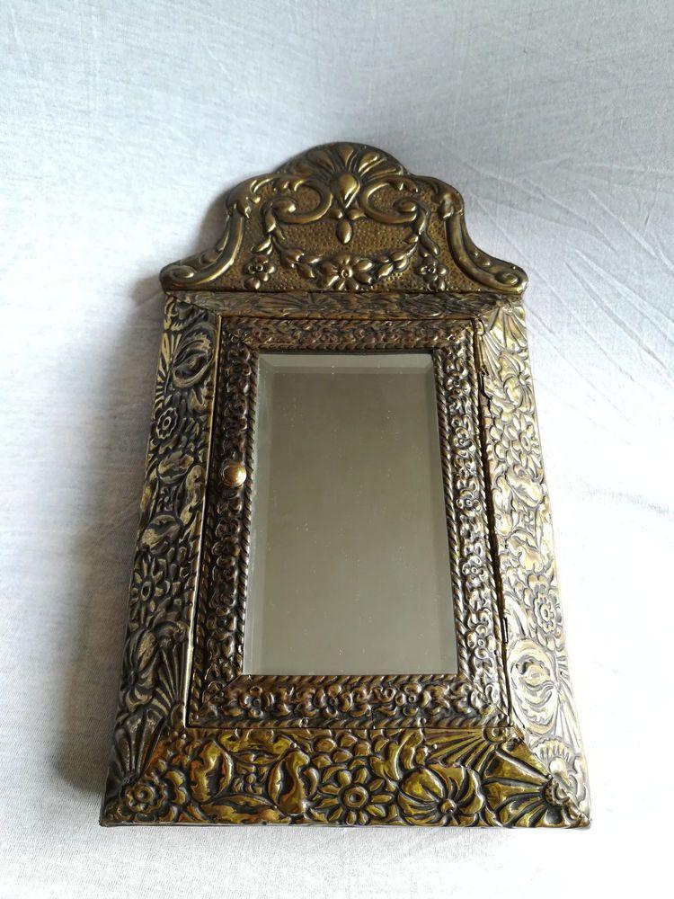 Antique Dutch Victorian Brass Shoe Brush Wall Cabinet Mirror Victorian Victorian Wall Mirrors Mirror Antique Mirror