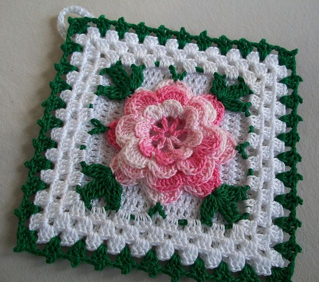 Crochet Potholder in Thread with Shaded Pink Rose Flower New in ...