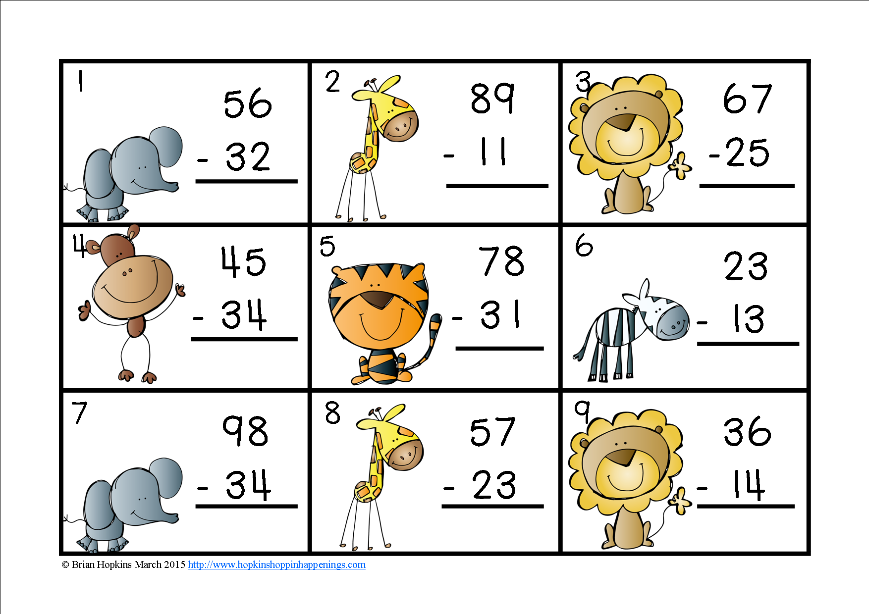 2 Digit Subtraction Without Regrouping Task Cards Zoo