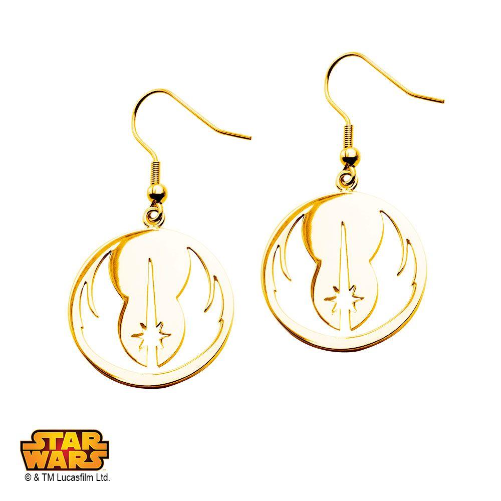 Star Wars Jewelry Rebel Alliance Gold IP Stainless Steel Dangle Hook Drop Earrings wH9sB2Y