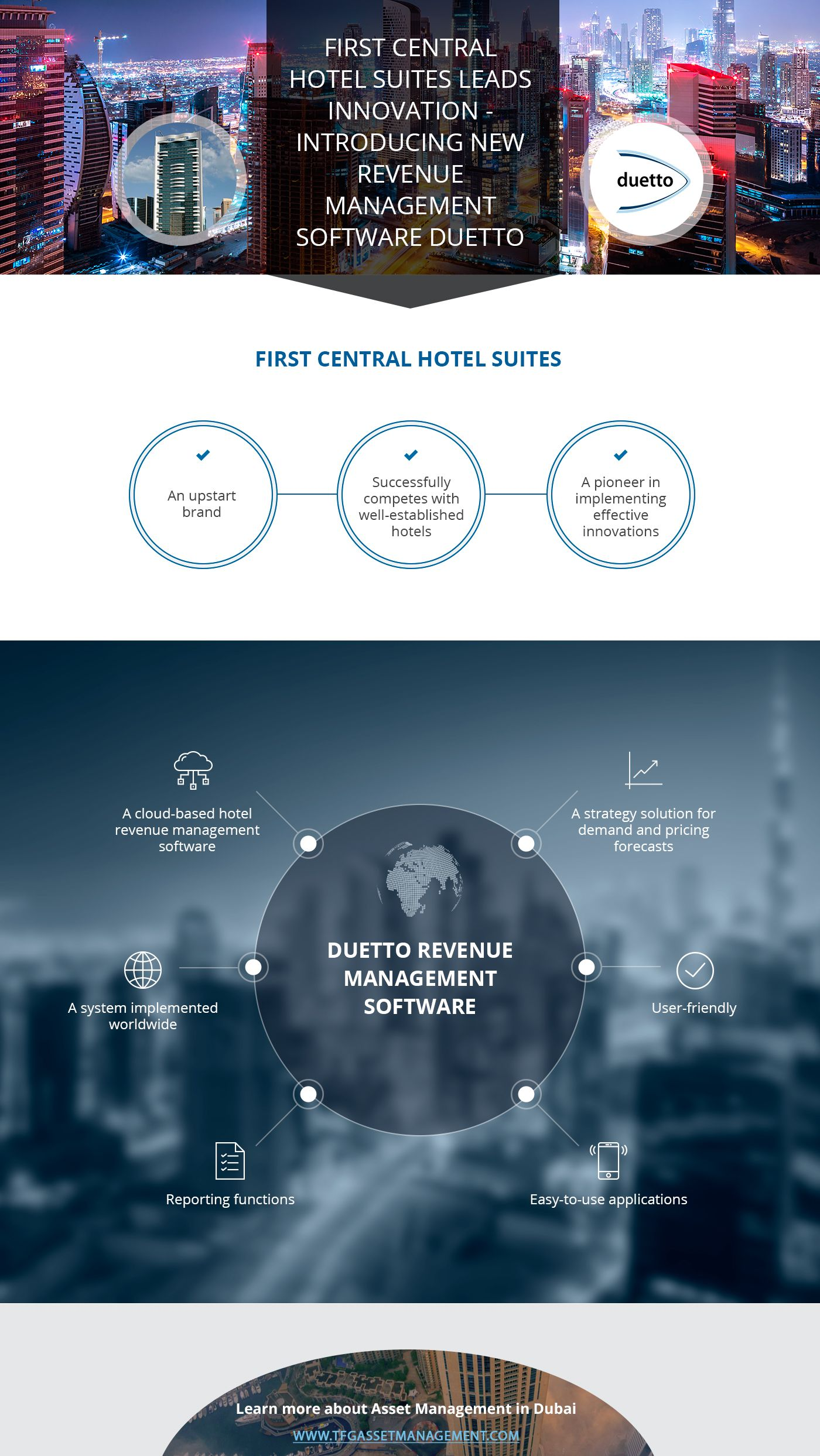 First Central Hotel Suites Leads Innovation Introducing New Revenue Management Software Duetto Source Https Www Tfgassetmanagement Com News Our Portfolio U