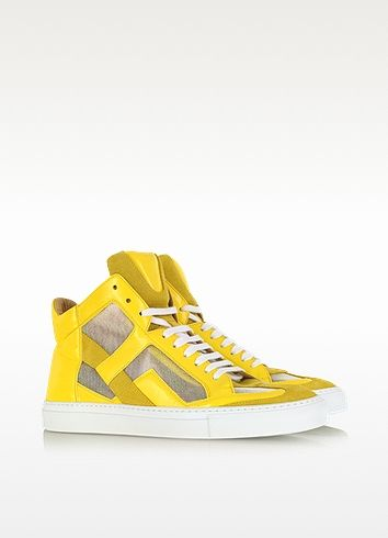 Techno Fabric Yellow High-top Sneaker - MM6 Maison Martin Margiela