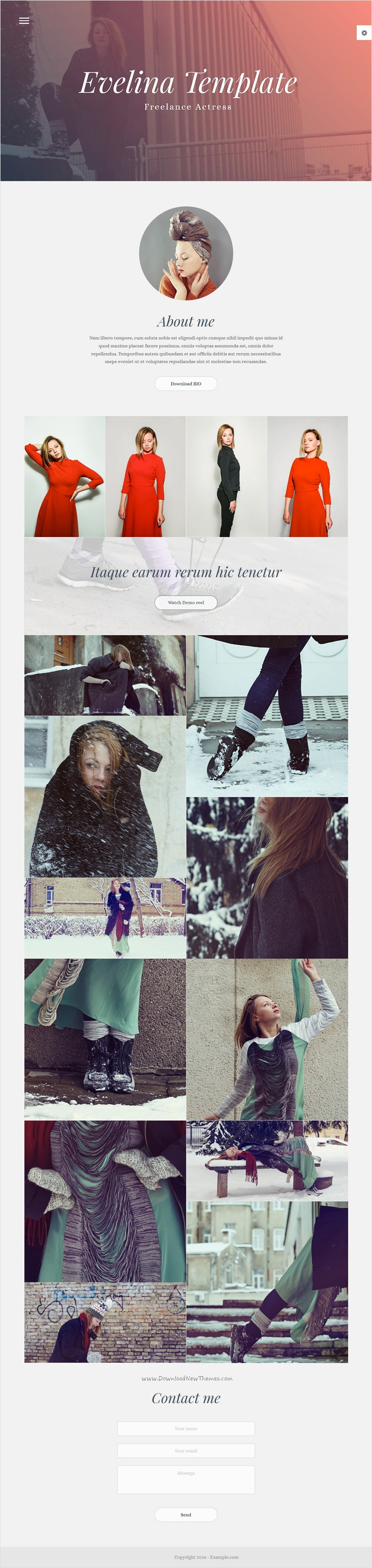 Evelina - Responsive One Page HTML Template for Actor / Model ...