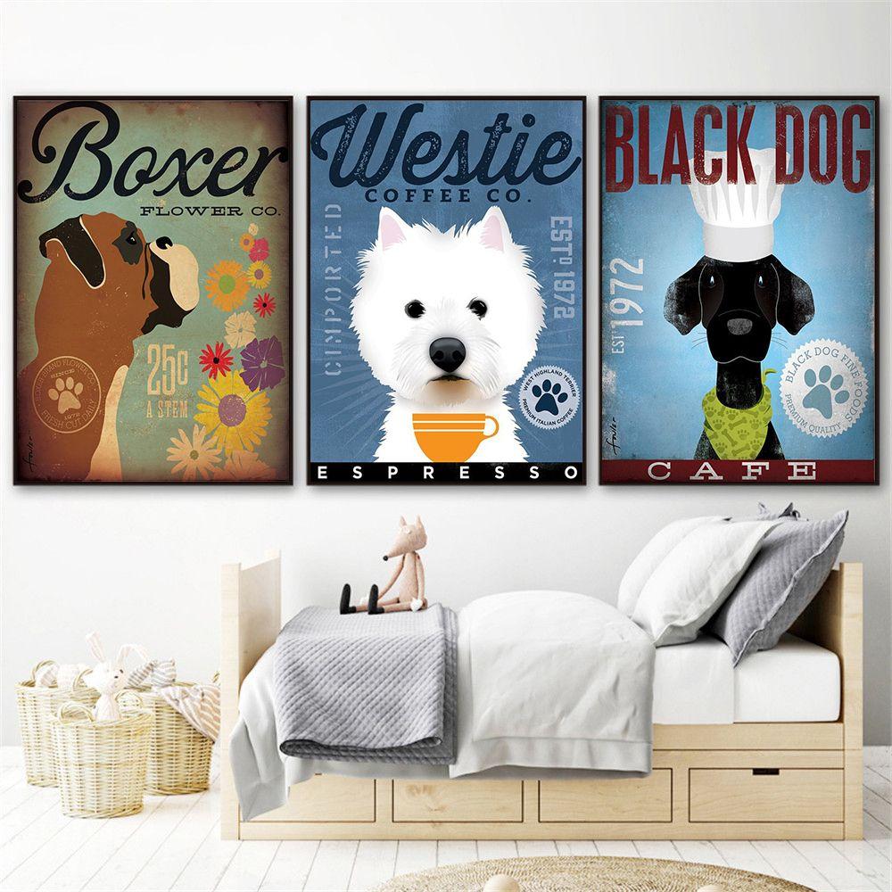 Boxer Westie Black Dog Lover Shih Tzu Sheepdog Retro Dog