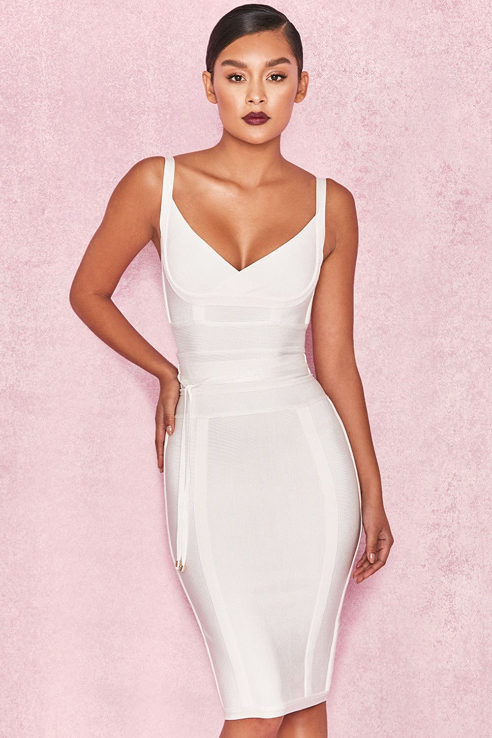 Belice  White Tie Waist Bandage Dress.   0ec7148773ef