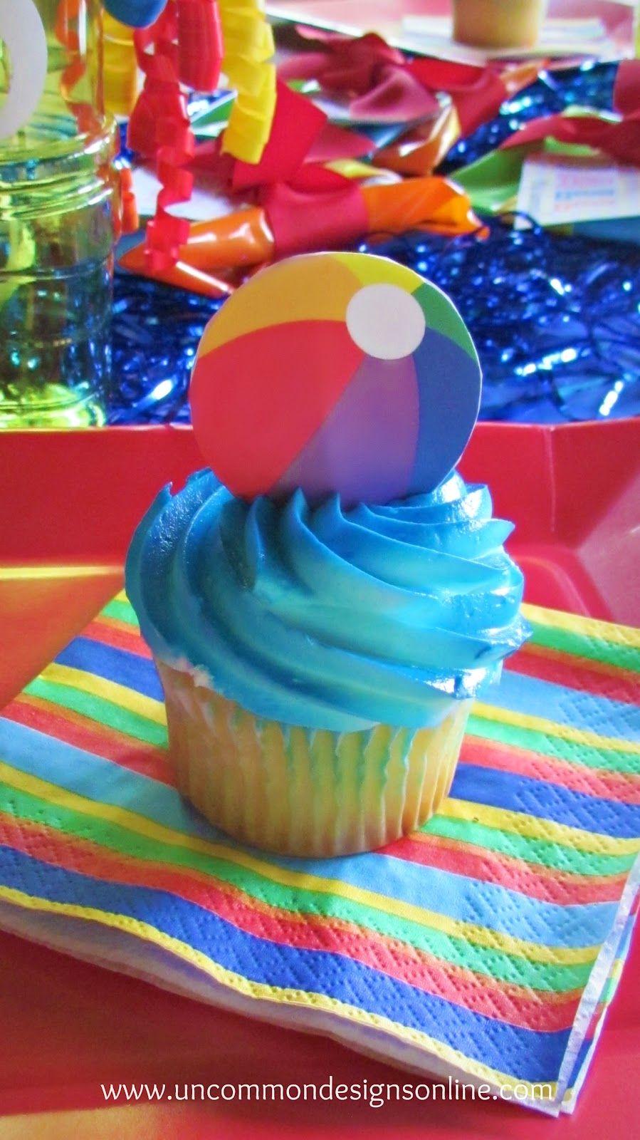 Beach Ball Smash Cake With Cupcakes With Images Smash Cake Boy