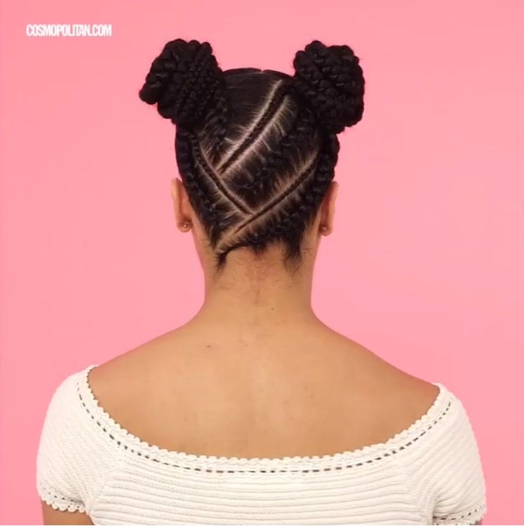 Space Buns On Braided Natural Hair Natural Braids Cosmo