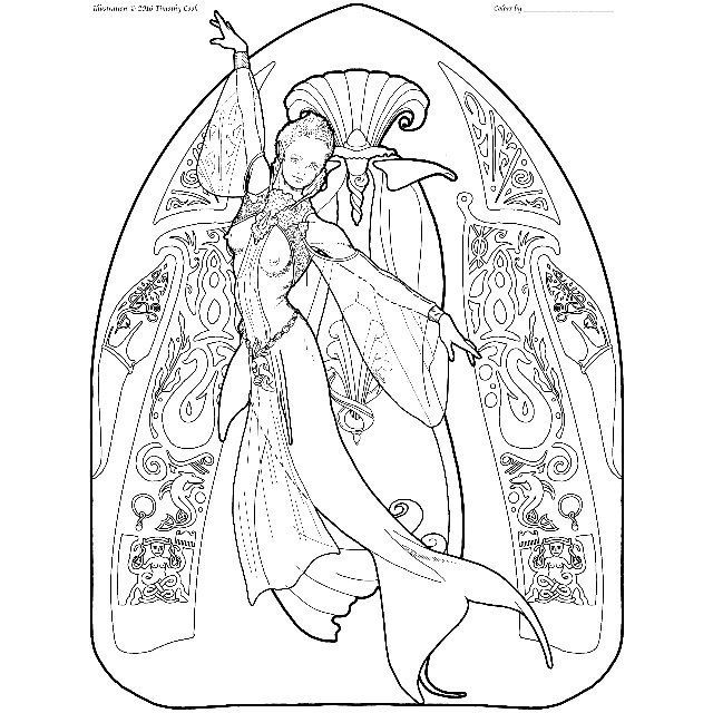 Mermaid coloring page - couture 08