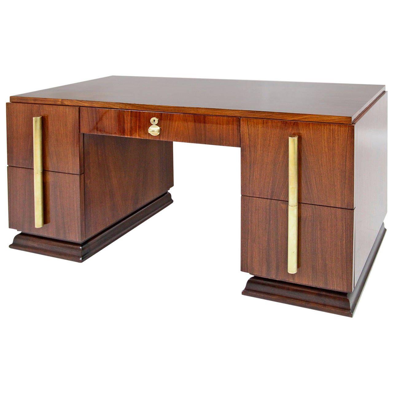 High Quality French Art Deco Desk, Art Deco Corner Writing Desk