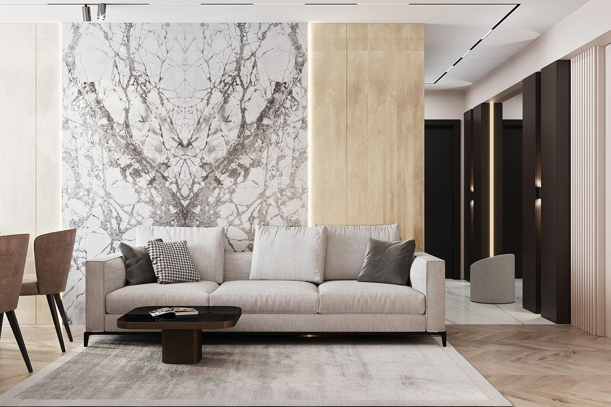 Gold Accents Living Room.3 Luxe Home Interiors With White Marble Gold Accents