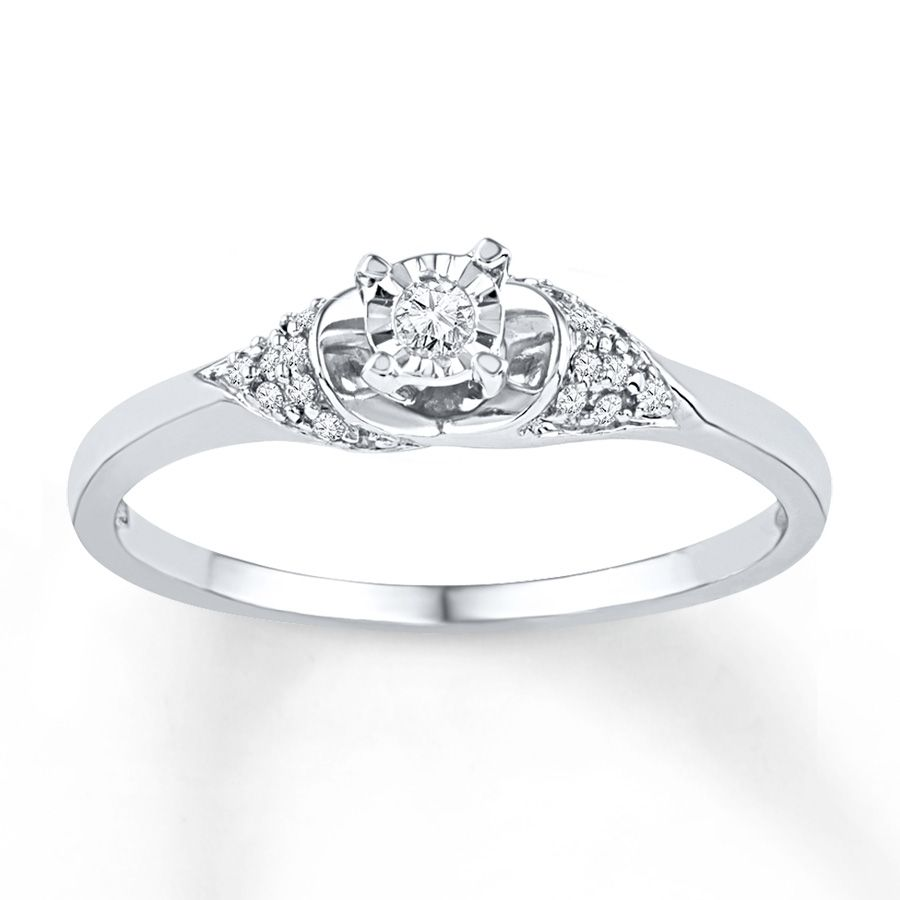 Diamond Promise Ring 1 10 ct tw Round cut 10K White Gold