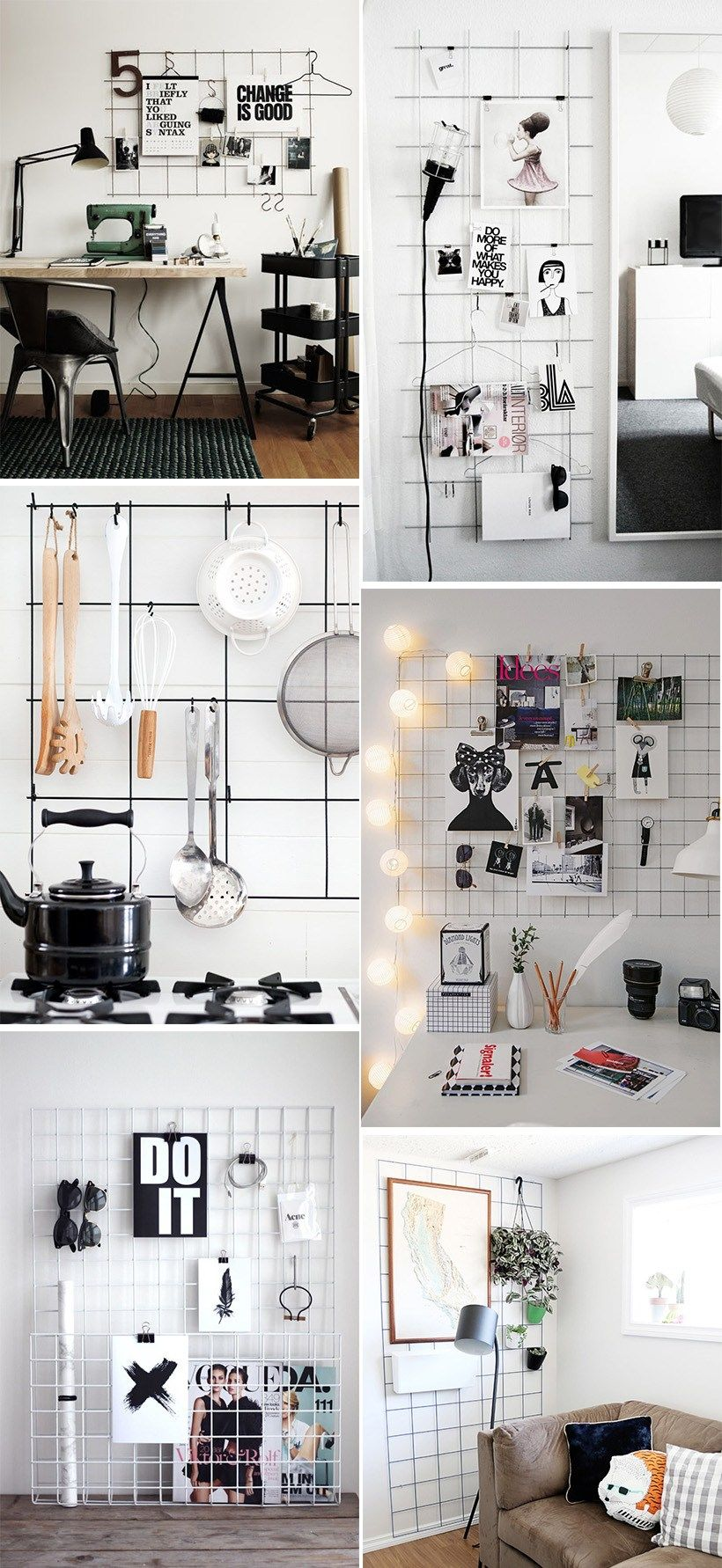 Diy inspiration metal grid dorm decor pinterest for Metallgitter deko