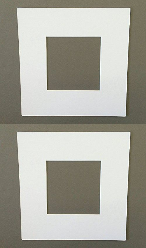 16x16 Square White Picture Mats with White Core Bevel Cut for 12x12 ...