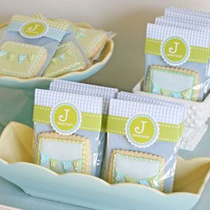 an elegant blue and green bunting boy baby shower craft card