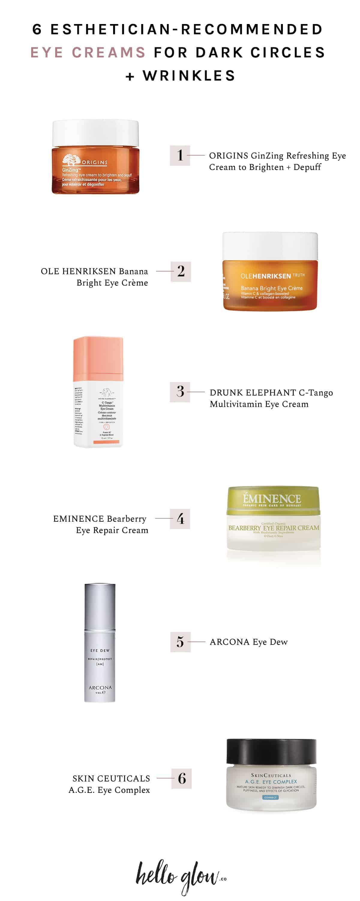 6 Esthetician-Recommended Eye Creams for Dark Circles + Wrinkles #darkcircle