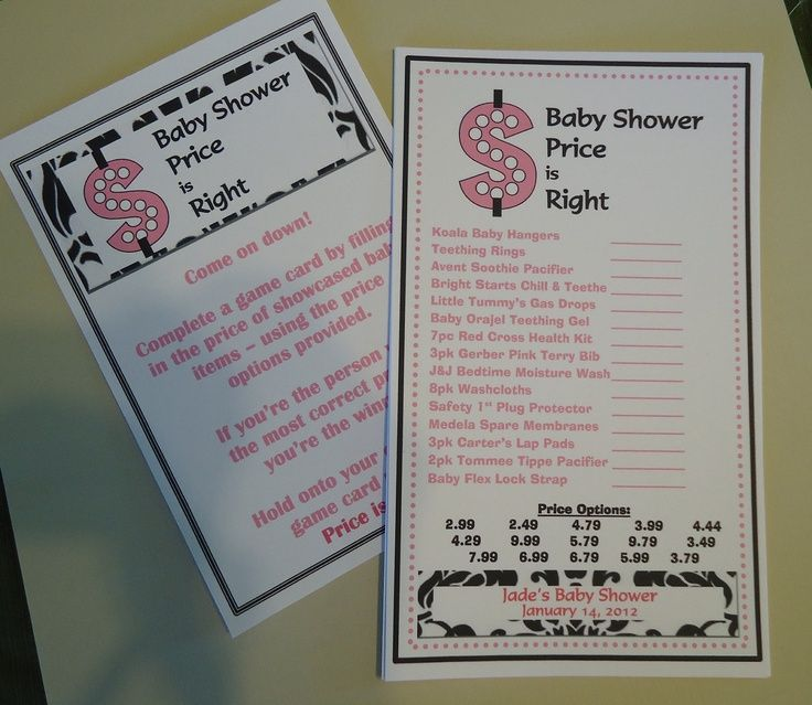 Price is Right Baby Shower Game. The Price is Right - Like the ...