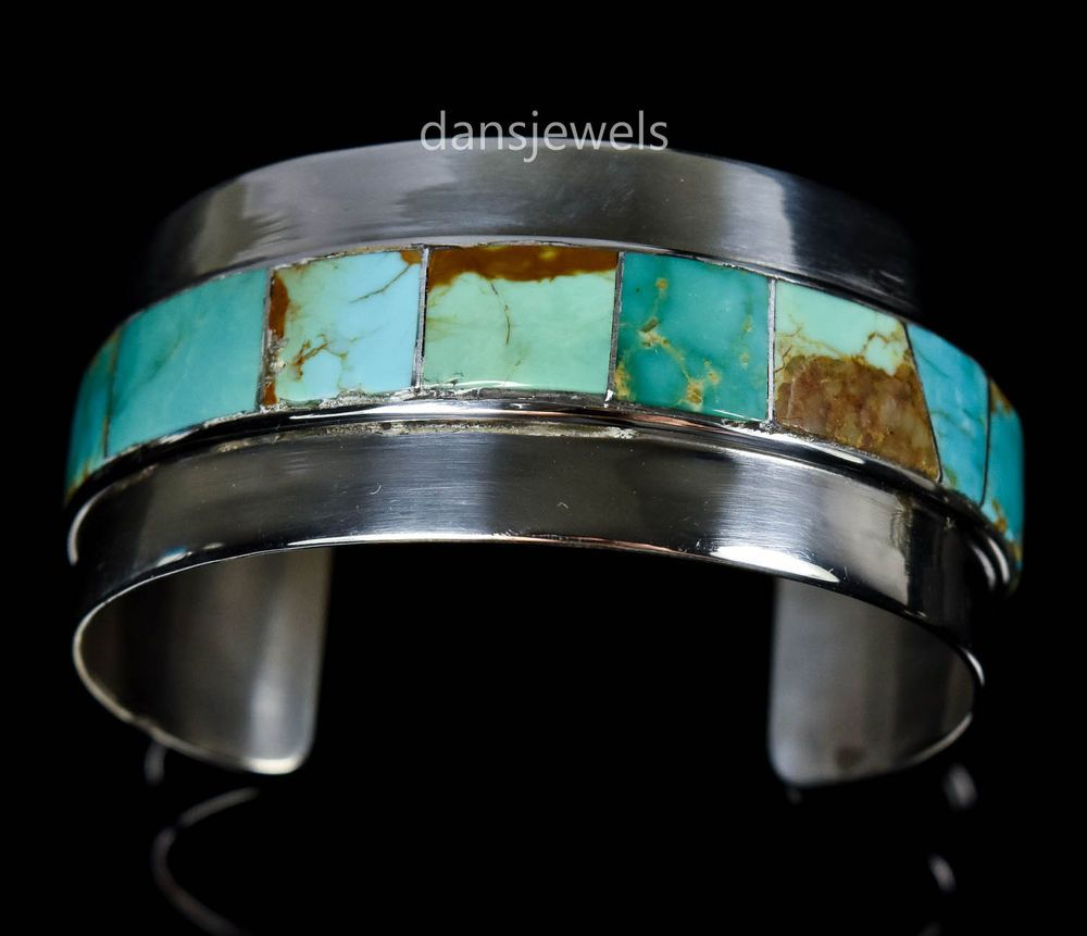 Vintage Old Pawn Navajo J. Woolsey Turquoise Flush Inlay Sterling Bracelet