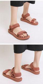 Kaufen Sie WShoes Sandals für Damen Sommer neue Zauberpaste ein Wort mit Flats ins Spo